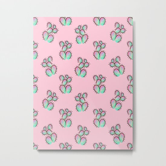 Pop Cactus Pattern Metal Print