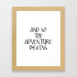 Inspirational Quote And So Adventure Begins Hustle Quote Print Typography Print Quote Printable Art Framed Art Print