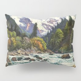 Mountains Forest Rocky River Pillow Sham