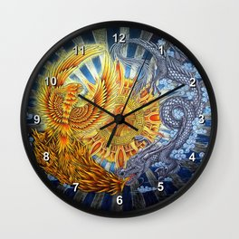 Chinese Phoenix and Dragon Mandala Wall Clock