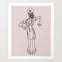 silent hill Art Prints featuring Nurse - Silent Hill by MikeBennettArt