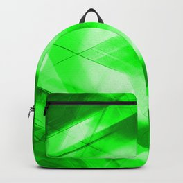 Bright warm triangular strokes of intersecting sharp lines with emerald triangles and a star. Backpack