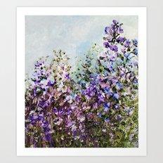 Floral Garden Impressionism in Pretty Purple Art Print