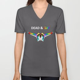Black Lion Dead & Gay Light Text Unisex V-Neck