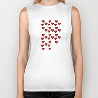 8 bit Biker Tanks featuring 8 BIT HEART by Bianca Lopomo
