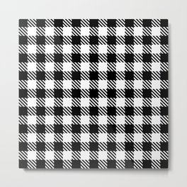Plaid Pattern 512 Black and White Metal Print