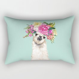 Flower Crown Llama in Green Rectangular Pillow