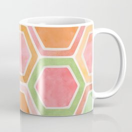 Geometric Tile Watercolor in Mint Green and Pink Coffee Mug