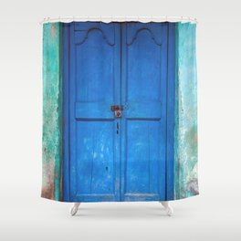 Blue Indian Door Shower Curtain