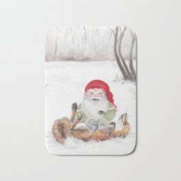 The gnome and his friend the fox - Christmas Bath Mat