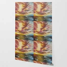 Sky Fire, Fire in the Sky Painting, Sunset Painting, On Fire Sunset Wallpaper