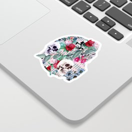 Flowers and Skulls (Pink) Sticker