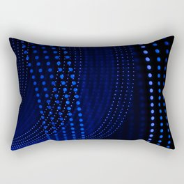 Blue dotted lines on black background with abstract shapes. Rectangular Pillow