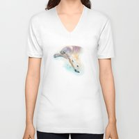 swimming V-neck T-shirts featuring Swimming by Petra