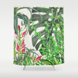 Watercolor Plants III Shower Curtain
