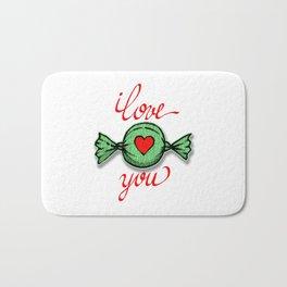 I love you (green) written in red Bath Mat