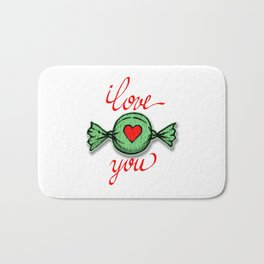 I love you (green) written in red Bath Mat