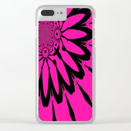 The Modern Flower Hot Pink & Black Clear iPhone Case