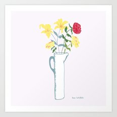 Lilies in tall pitcher Art Print