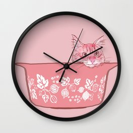 Cat in Bowl #1 Wall Clock