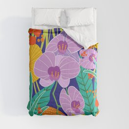 Orchid Fantasy Illustration, Tropical Colourful Orchids Comforters
