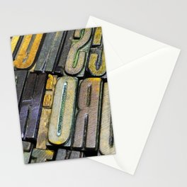 Colourful distressed vintage letterpress typeface Stationery Cards