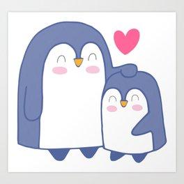 Cute Penguin Love Art Print