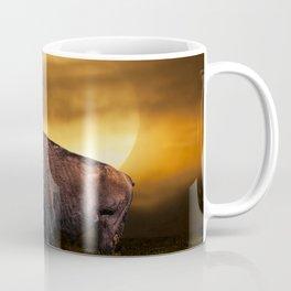 American Buffalo Bison under a Super Moon Rise Coffee Mug