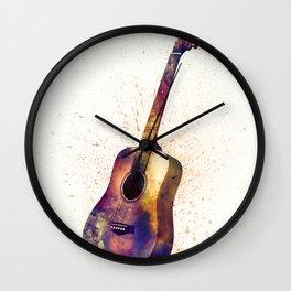 Acoustic Guitar Abstract Watercolor Wall Clock