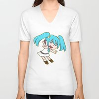 vocaloid V-neck T-shirts featuring Miku Miku by tees4weebs