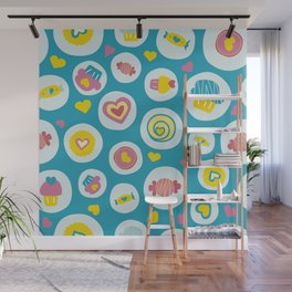 Blue circles sweet love  Wall Mural