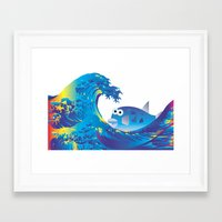 hokusai Framed Art Prints featuring Hokusai Rainbow & Globefish  by FACTORIE