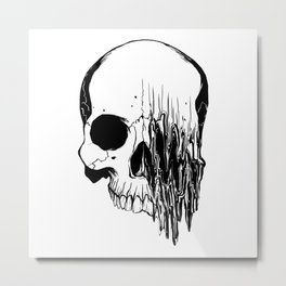 Skull (Distortion) Metal Print