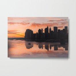 Orange Sunset over East River Metal Print