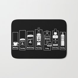 Coffee Whiskey Calendar Bath Mat