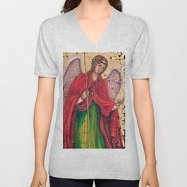 Archangel Gabriel Fresco With A Crackled Finish for #Society6 Unisex V-Neck