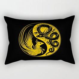 Yellow and Black Dragon Phoenix Yin Yang Rectangular Pillow