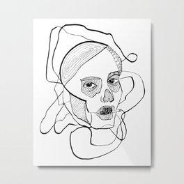 Sketch woman's head art. Metal Print