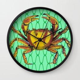 Green Underwater Crab Pop Art Wall Clock