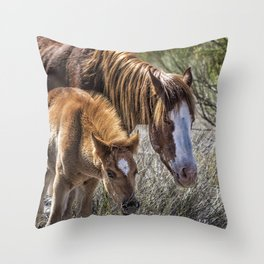 Wild Foal with Dad Throw Pillow
