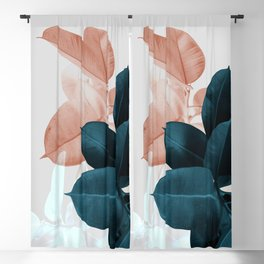 Blush & Blue Leaves Blackout Curtain