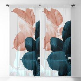 Blush & Blue Leaves Blackout Curtain
