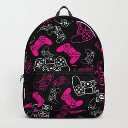 Video Games Pink on Black Backpack