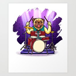 Bulldog Drummer Holding Up Drumsticks Behind His Drum Set Art Print