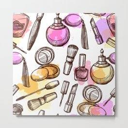 Modern Makeup Pattern Design Art Metal Print