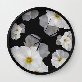 White blossom flower in pattern Wall Clock