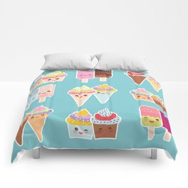 Kawaii cupcakes, ice cream in waffle cones, ice lolly Comforters