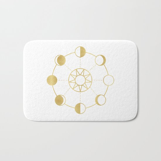 Gold Moon and Sun Phases Bath Mat