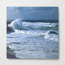 Ocean Bubbly, Foamy Surf Waves Under Tropical Sky Metal Print