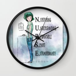 Nurse with Stethoscope Wall Clock